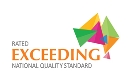 Acknowledgement sticker logo for being rated 'exceeding' for National Quality Standard